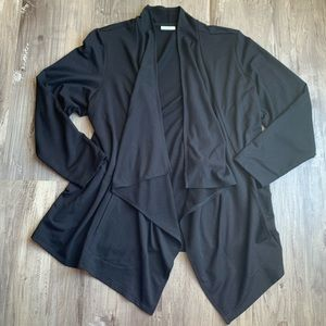 LOGO Lounge Black French Terry Open Front Cardigan